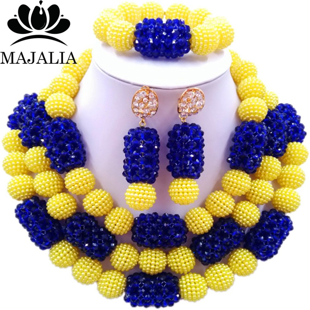 Fashion african jewelry set yellow Plastic blue and Crystal Nigeria Wedding african beads jewelry set Free shipping YJ-215 цена