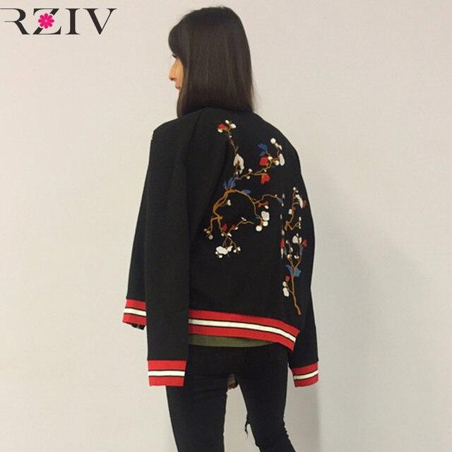 Rziv feminina jaqueta chaqueta de las mujeres 2016 ocasionales de flores bordadas