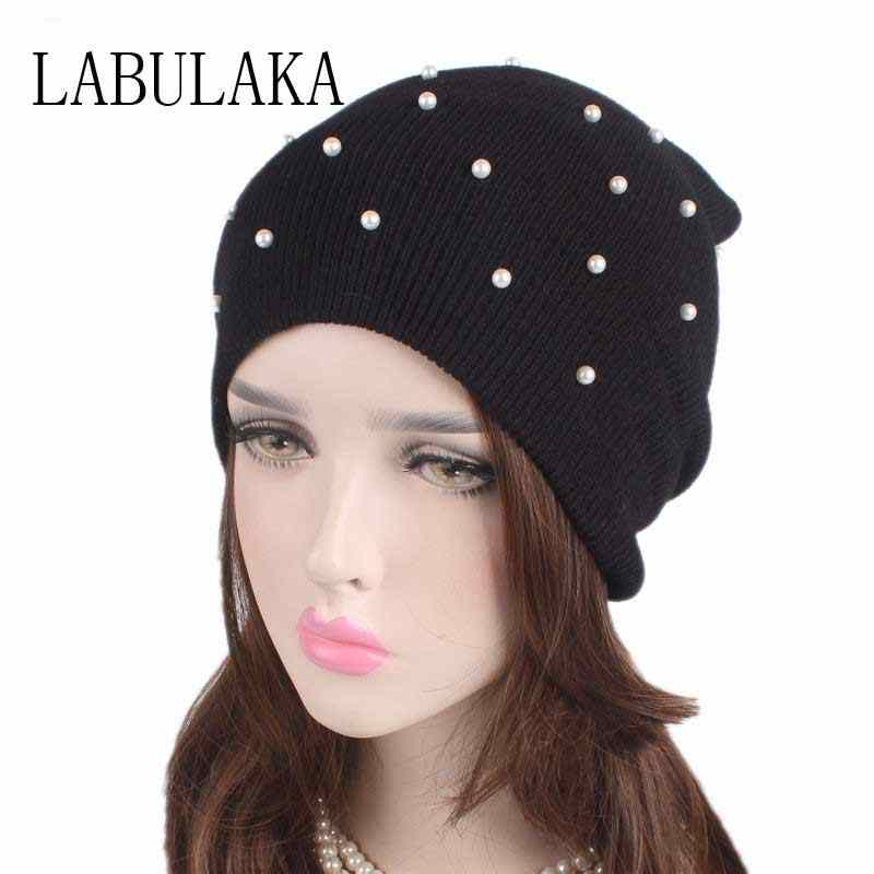 34fb7d31a34 Winter Hats for Women Pearl Beanie Warm Knitted Skullies Beanies Ski Hats  Ladies Soft Solid Cotton