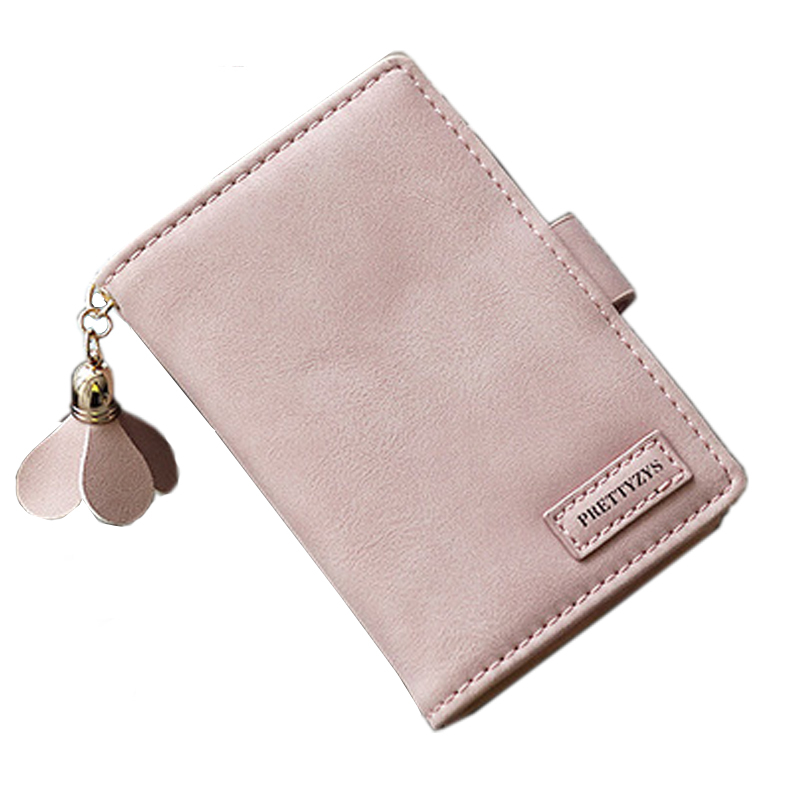 Women Wallet Female Purse Leather Clamp For Money Card Coin Purse Small Wallet Female Clutch Female Girls Flower Pendant Cute 2017 purse owl se cute wallets for children lovely coin purses for women mini bags for girls trinket small pouch wallet card zip
