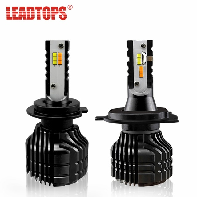 2 Pcs/lot LED Headlight Blubs H7 H4 H11 Auto Car Light 3000K 6500K Yellow White 8000LM 50W Dual Color In One Fog Light AE