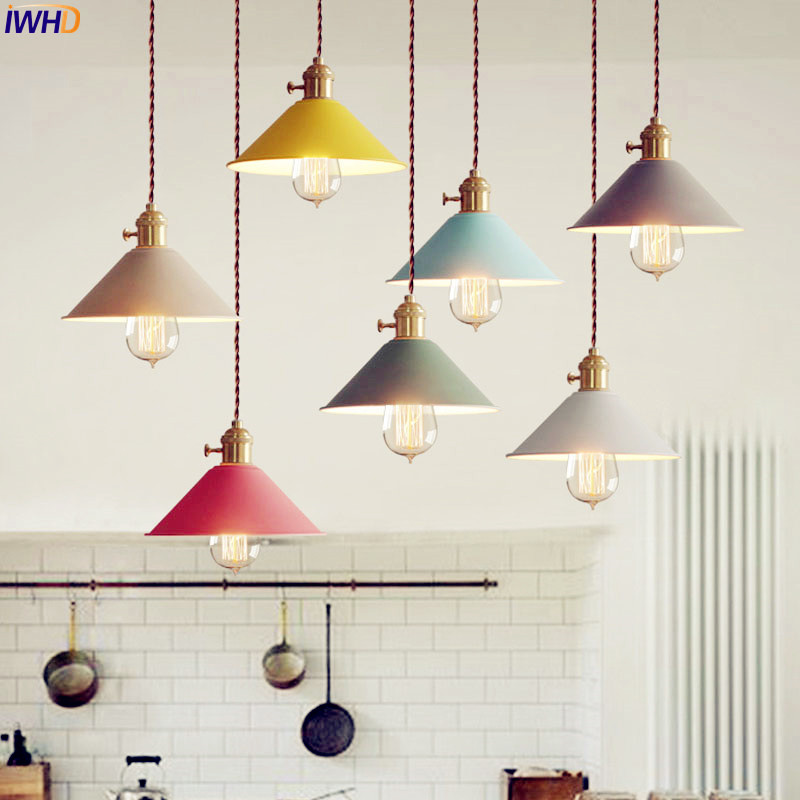IWHD Colorful Nordic Vintage Lamp Creative Edison Loft Style Industrial Pedant Lighting Fixtures Lampara Colgante Lampen iwhd loft style creative retro wheels droplight edison industrial vintage pendant light fixtures iron led hanging lamp lighting