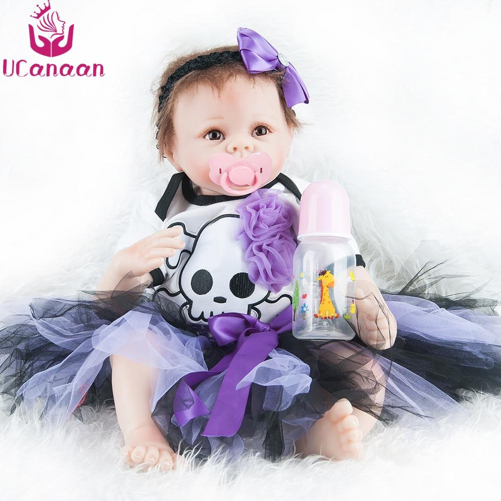 цена UCanaan Reborn Baby Dolls 22inch Realistic Soft Cloth Body Handmade Reborn Babies Doll Toys Birthday Gift Toys for Children