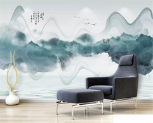 beibehang Custom silky papel de parede wallpaper simple new Chinese ink landscape abstract line background decorative painting