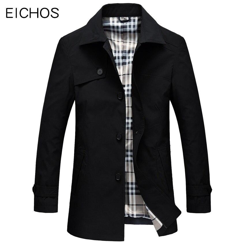 EICHOS 2018 Весна Для мужчин s Тренч Slim Fit Длинные пальто Для мужчин британский стиль Бизнес верхняя одежда высокого качества классические ветров... ...