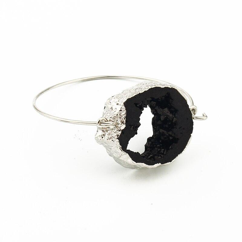 Dayoff Europe Fashion Jewelry Simple Silver Bracelet Bangle Women Handmade Irregular Huge Resin Black Hollow Cuff Braceles B69