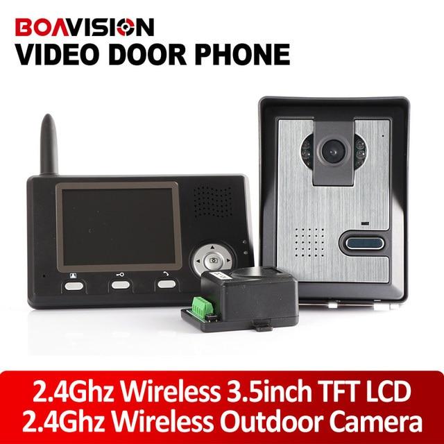 """3.5""""Screen Wireless Door Intercom 2.4G Wireless Video Door Phone Intercom 1 To 1"""