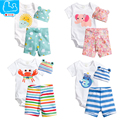 Summer Baby Clothes Set Baby Boys Girls Romper Cartoon Animals Kids Climbing Clothes Baby Costume 3pc/Set Short Romper+Top+Pant