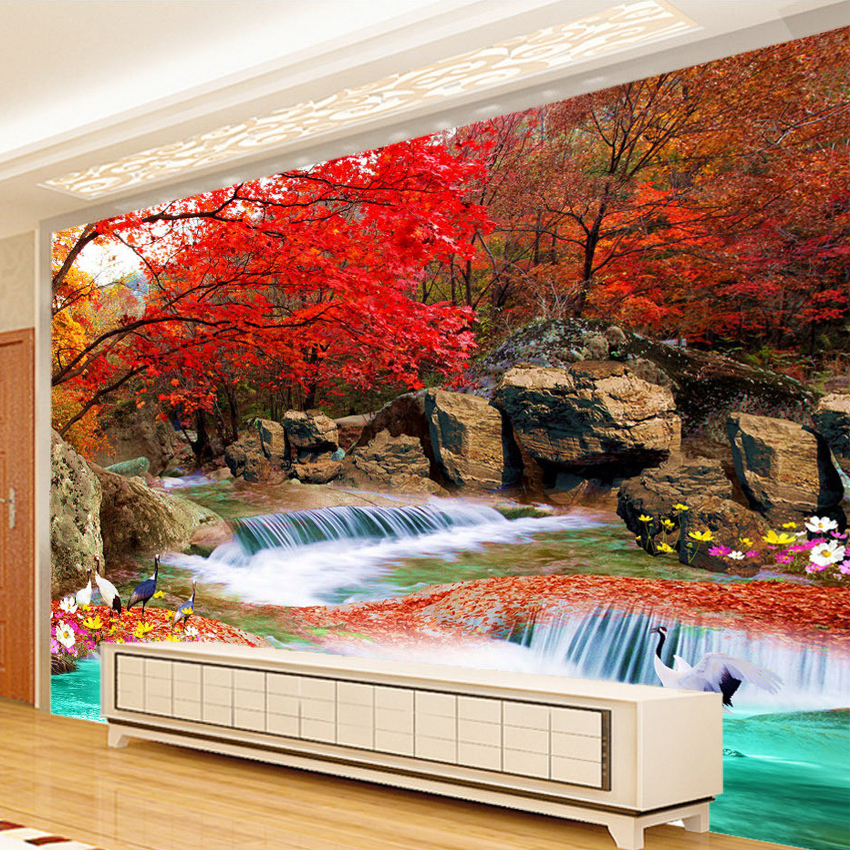 Custom 3d photo wallpaper living room tv backdrop natural for Custom mural painting