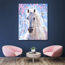 DIY colorings pictures by numbers with colors Beautiful white horse galloping picture drawing painting  framed Home