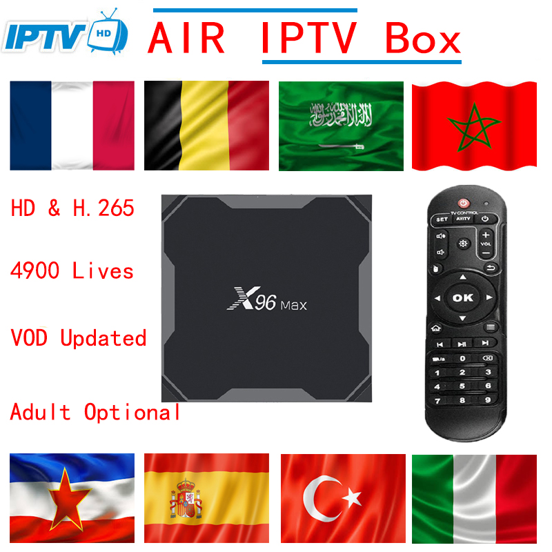X96 MAX 2G16G/4G32G/4G64G Android 8.1 TV Box with 4900 Live VOD XXX France Arabic Spain Italy Nordic Europe HD IPTV Set top box italy iptv a95x pro voice control with 1 year box 2g 16g italy iptv epg 4000 live vod configured europe albania ex yu xxx
