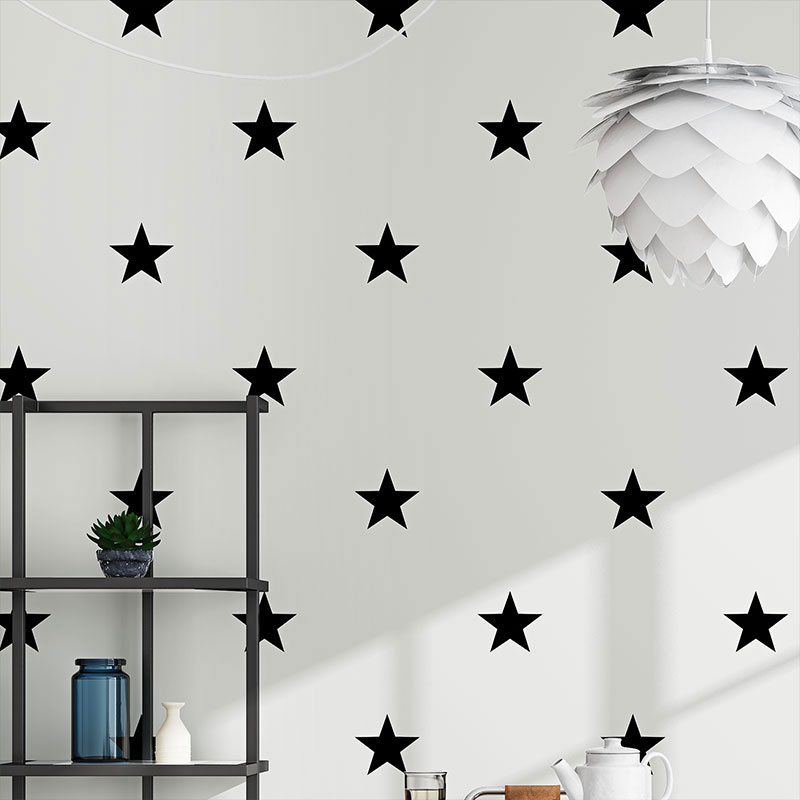 Us 2719 32 Offmodern Nordic Ins Wallpapers Kids Boy Girls Room Home Decor Black White Stars Wall Paper Roll Cartoon Contact Paper For Walls In