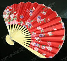 Chinese Japanese Folding Hand Red Silk Flower dance Bamboo Fan Wedding Decor(China)