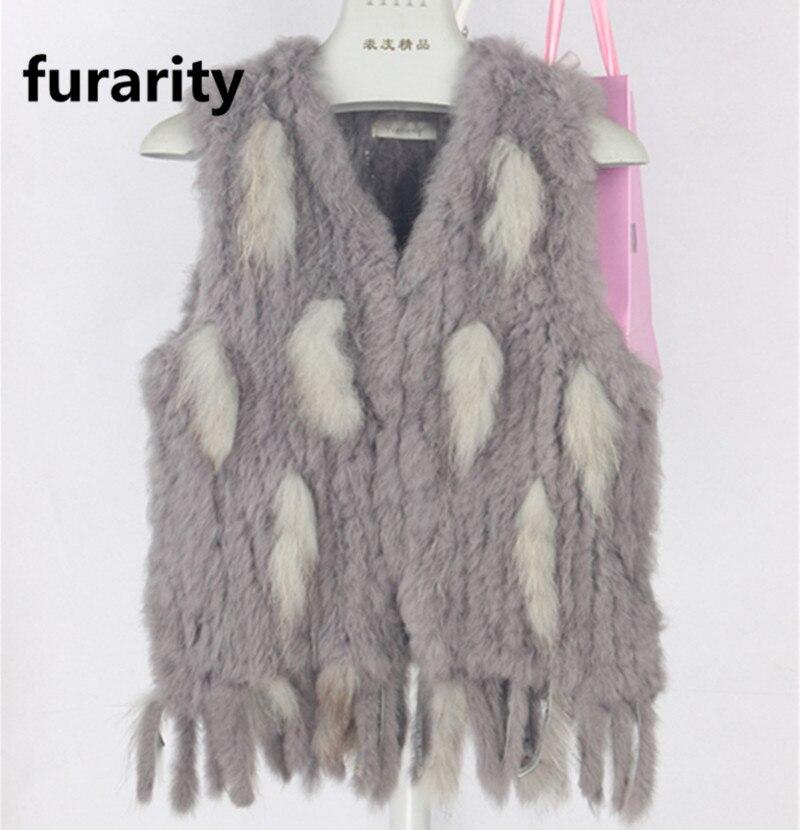 furarite pas cher prix reel fourrure de lapin tricote gilets avec glands offre speciale fourrure de raton laveur hiver femmes gilets dans beaucoup de