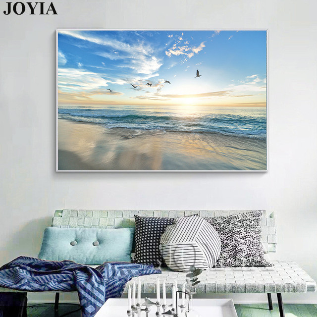 011253964dc Morning Beach Canvas Art Magnificent View Sea Paintings for Living Room  Wall Bedside Modern Rectangle Prints With No Frame