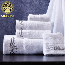 Medusa outlet staple cotton satin embroidered flower bath/face/hand towel 3pcs set for children/adult