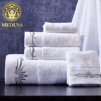 Medusa sortie fibers de coton satin brodé fleur de bain/visage/main serviette 3 pcs set pour enfants/adultes