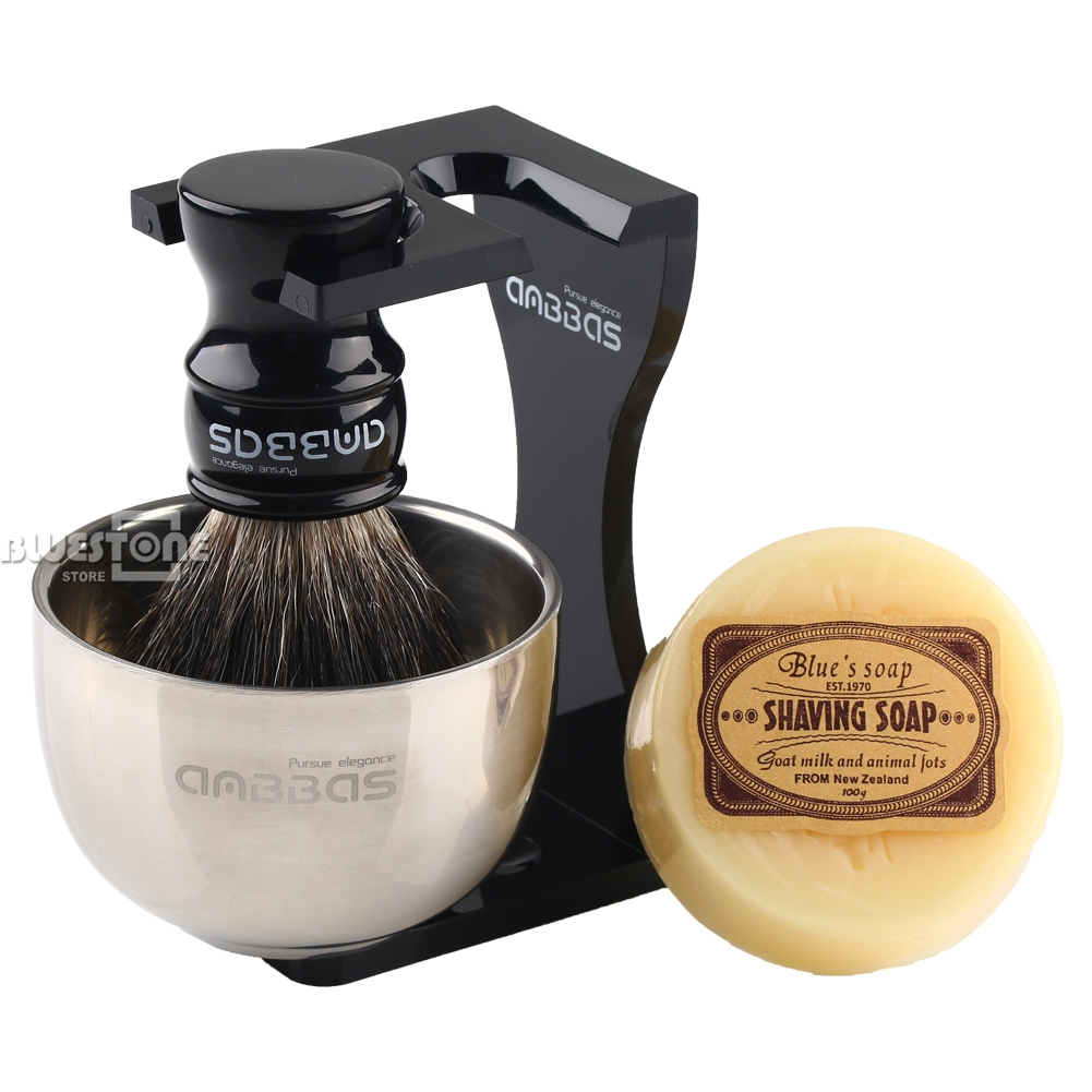 Anbbas Barber Shaving Brush Badger Hair,Black Acrylic Stand, Bowl, Soap  Set