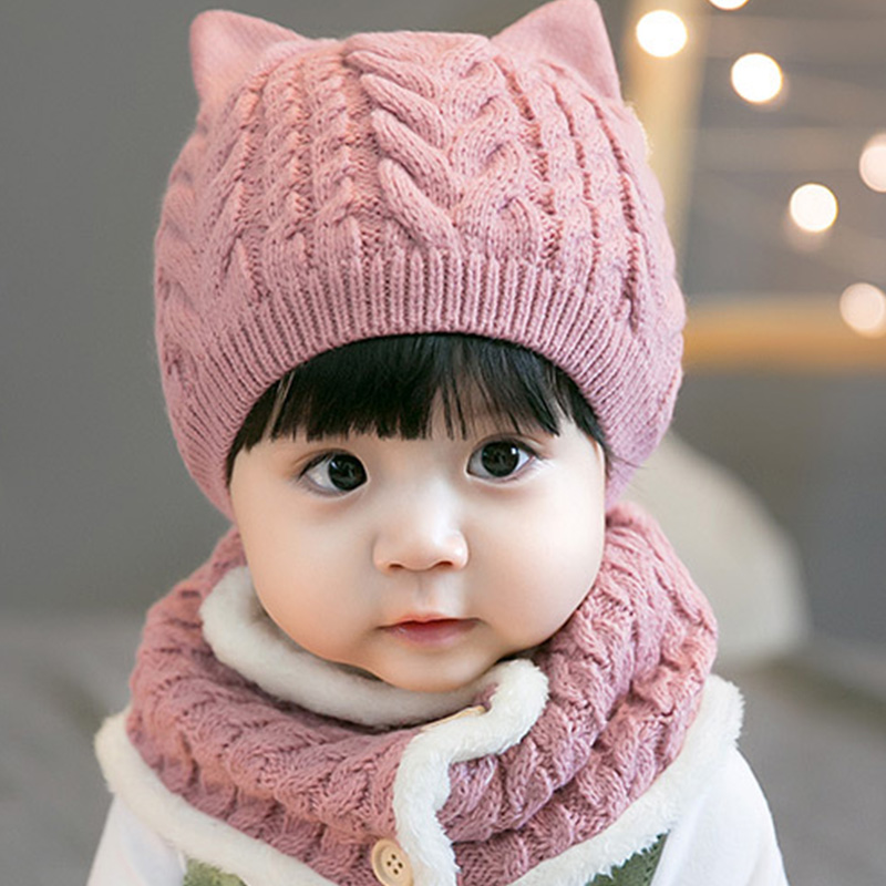 24269e50128 Detail Feedback Questions about ideacherry Winter Wool Girls Boys Knitted Suits  Hat Cute Princess Child Caps Scarf Set Newborn Cartoon With Ears Beanie Hats  ...