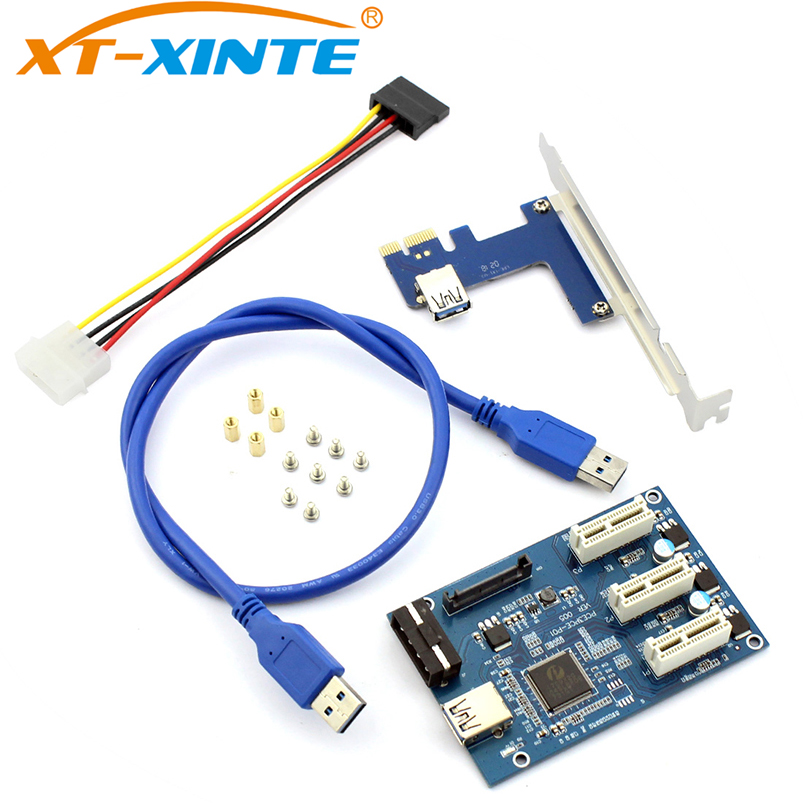 XT-XINTE <font><b>PCIe</b></font> 1 <font><b>to</b></font> 3 <font><b>PCI</b></font> Express 1X Slots Riser Card Mini ITX <font><b>to</b></font> External 3 <font><b>PCI</b></font>-e Slot <font><b>Adapter</b></font> <font><b>PCIe</b></font> Port Multiplier Miner Card image