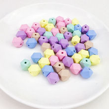 20mm 16mm 20pc Candy Color Wood Octagonal Beads DIY Crafts Food Grade Materials Wooden Unfinished Geometric Beads Baby Teething