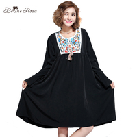 BelineRosa 2017 Princess Style Ladies Clothes Embroidery Collar Flare Sleeve Winter Dress Sweet A Linen Black