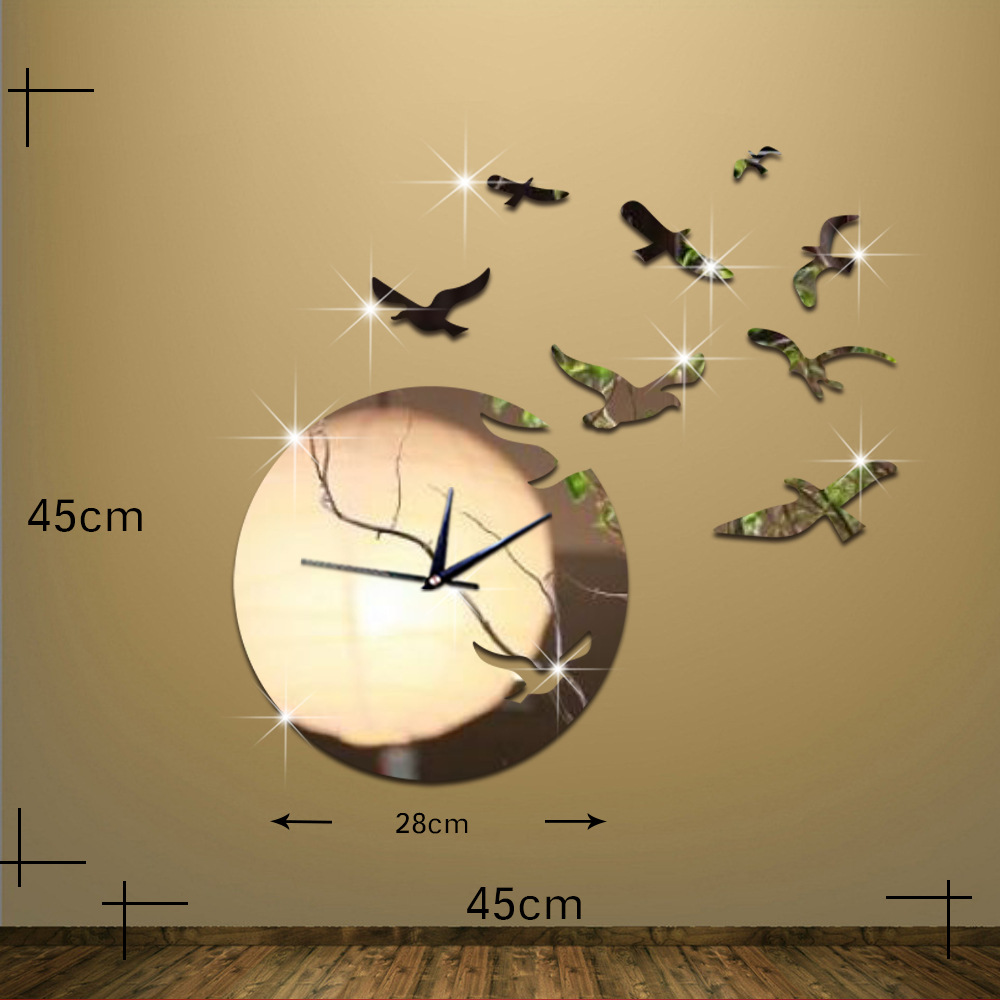 Large Wall Clock Sticker 3D Seagull Flying in Sunset Art Mirror Wall ...
