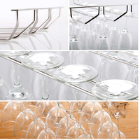 Kitchen Wall Bar 35cm Length One Double Three Rows Stainless Steel Champagne Wine Stemware Glass Cup