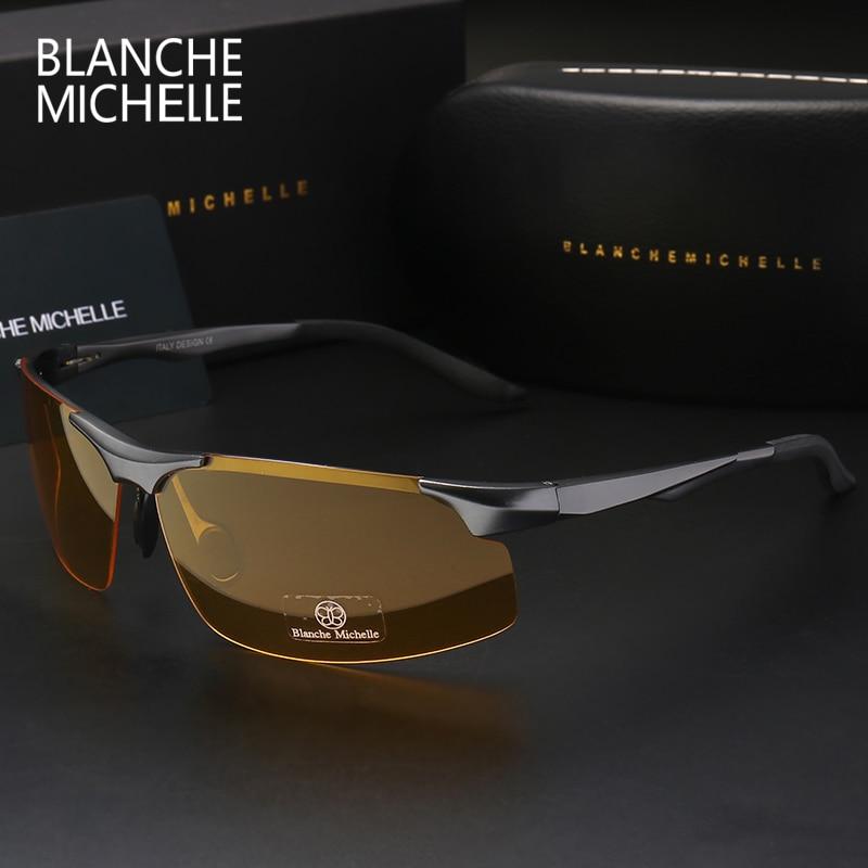 2018 de aluminio de magnesio hombres gafas de sol polarizadas deportes de conducción visión nocturna gafas gafas de sol de pesca UV400 sin montura gafas de sol