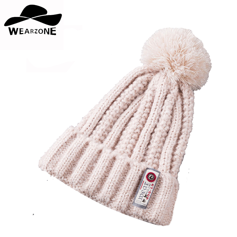 woman's Skullies caps knitting hats ball cap pom poms winter hat for girl 's knitted beanies cap brand new thick warm Labeling skullies