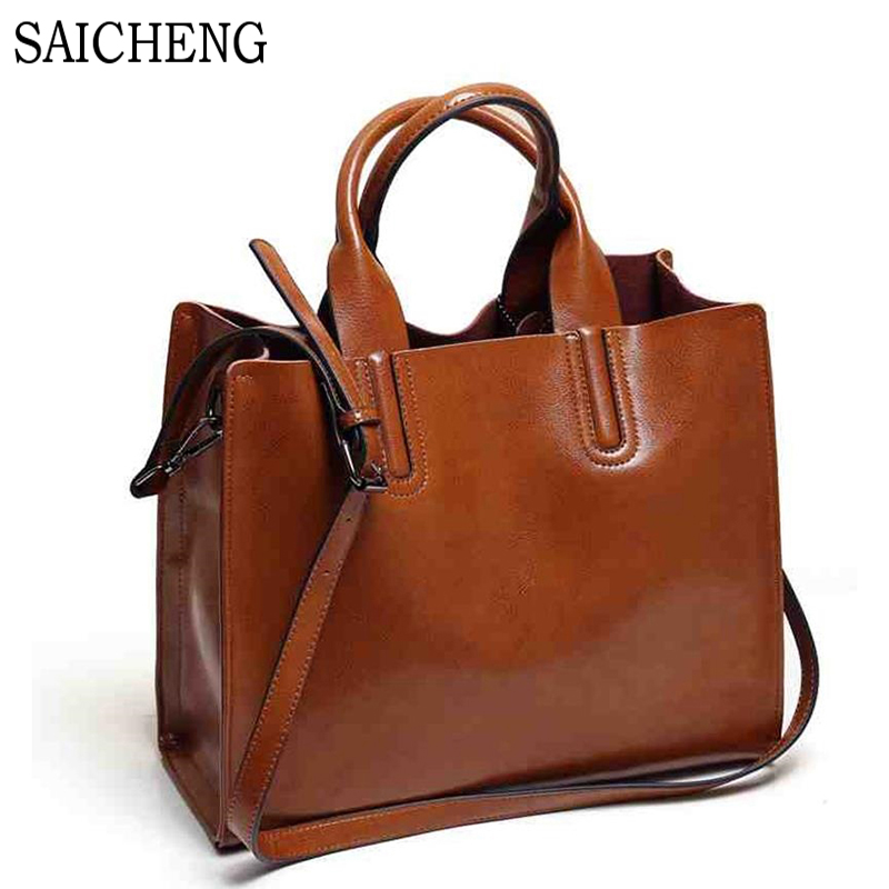Leather Bags Handbags Women Famous Brands Big Casual Women Bags Trunk Tote Spani