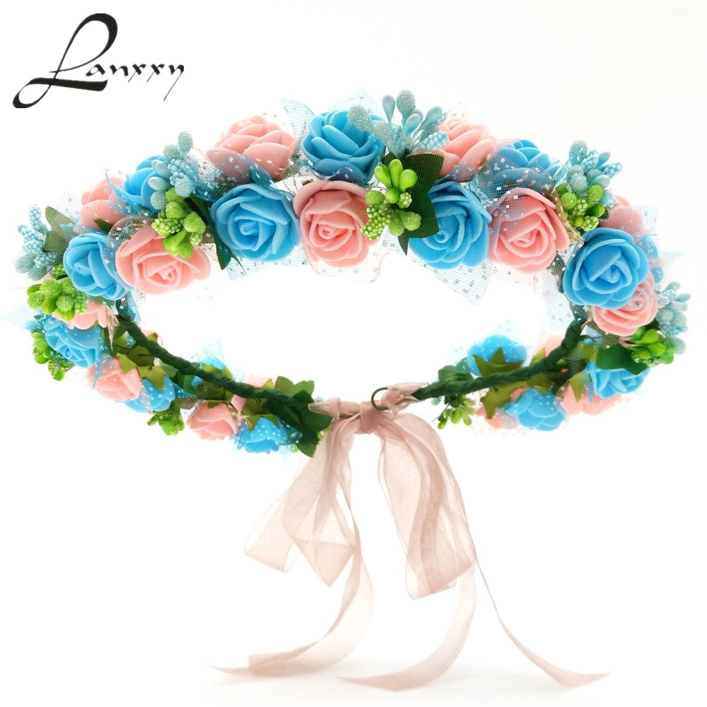 Lanxxy New Women Wedding Bridal Hair Bands Flowers Hair Accessories Floral Crown Girls Headband Headwear Fashion Hairband women girl bohemia bridal camellias hairband combs barrette wedding decoration hair accessories beach headwear