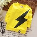 4 Colors Cotton Children Unisex Hoodies Spring Autumn Lightning Pattern Long-sleeved baby Sweatshirts Simple Kid KT014B