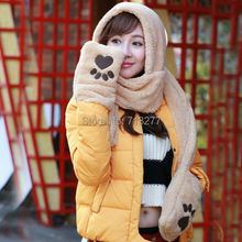 2014 Winter Cartoon Christmas Plush Animal Fur Hat with Scarf Bear Paws with Glove and Mitten for Women Hat Scarf Set Winter Hat