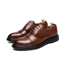 men's casual breathable business wedding formal dresses genuine leather brogue shoes carved bullock pointed toe oxfords shoe man