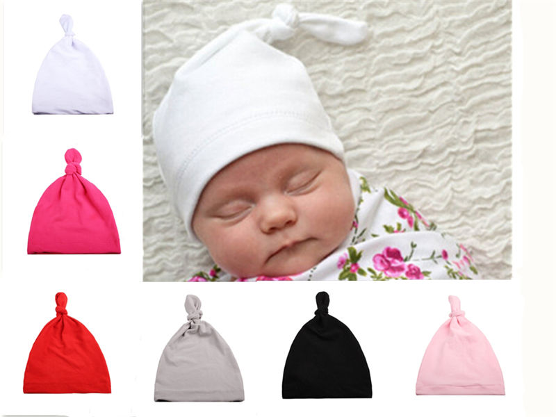 New Knotted Hat Children Fashion With Acute Angle Cap Baby Hat Monochrome Cute Babies Solid Beanies