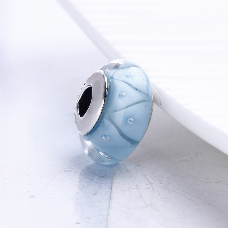 100% 925 Sterling Silver Fit Original Pandora Bracelet Blue Looking Murano Glass Beads DIY Charm Beads for Jewelry Making