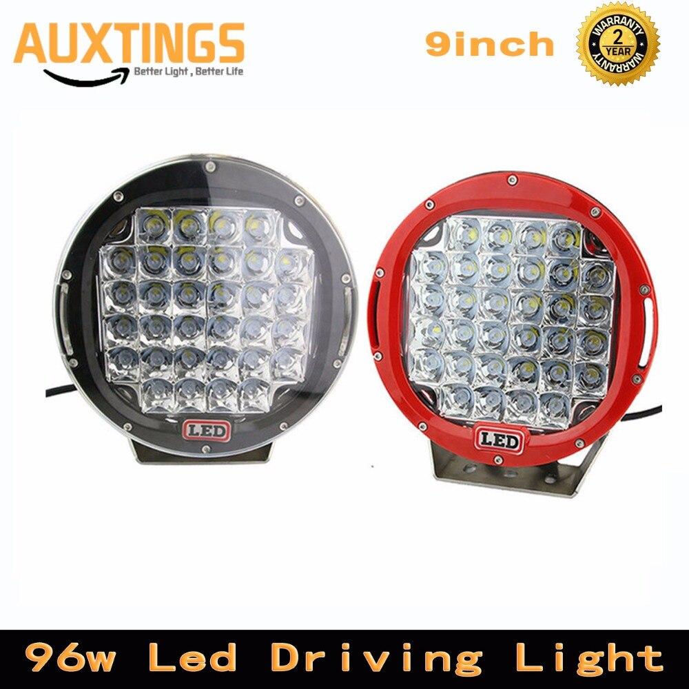 2 個黒/赤オフロード led ワークライト 9 インチ 96 ワット led 駆動光スポットビーム atv suv 4 × 4 トラック車両  グループ上の 自動車 &バイク からの ライトバー/ワークライト の中 1