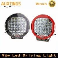 2PCS Black / Red offroad led work light 9inch 96w led driving light spot beam for atv suv 4x4 truck vehicle