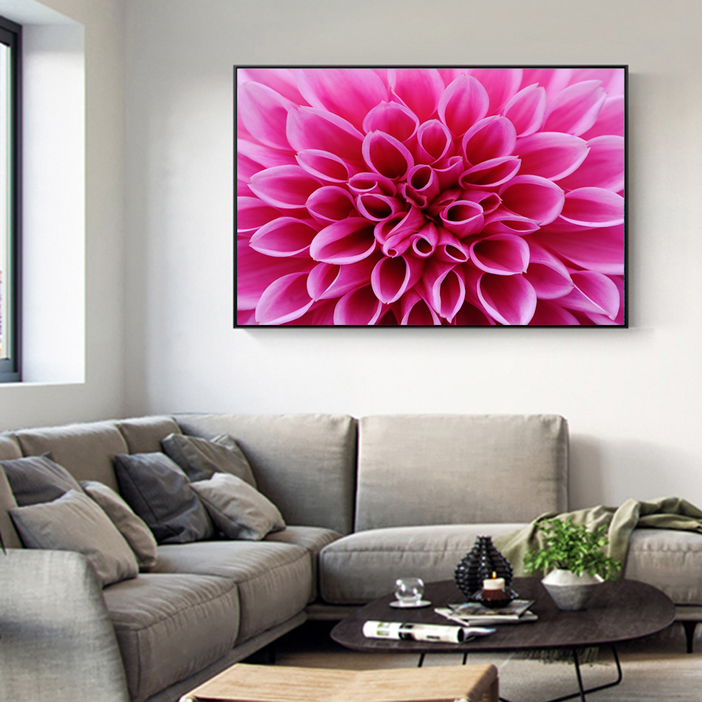 Aliexpress Buy Pink Dahlia Flowers Canvas Art Wall Paintings