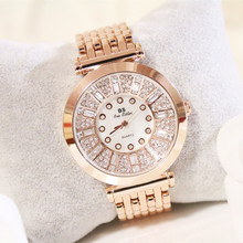 New Hot Ladies Quartz Movement Watch High-end Linked List Custom Full-diamond Womens Can Be A Gift