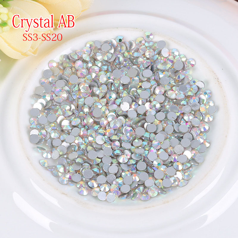 AAA+crystal galss AB color flatback nail art rhinestones DIY mobile phone shell clothing decoration