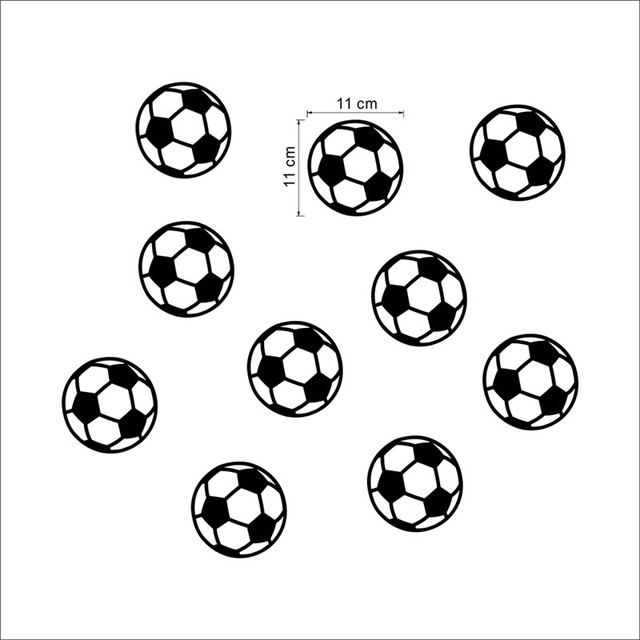 10 pcs Colorful Football Soccer Ball wall sticker for kids room, boys bedroom