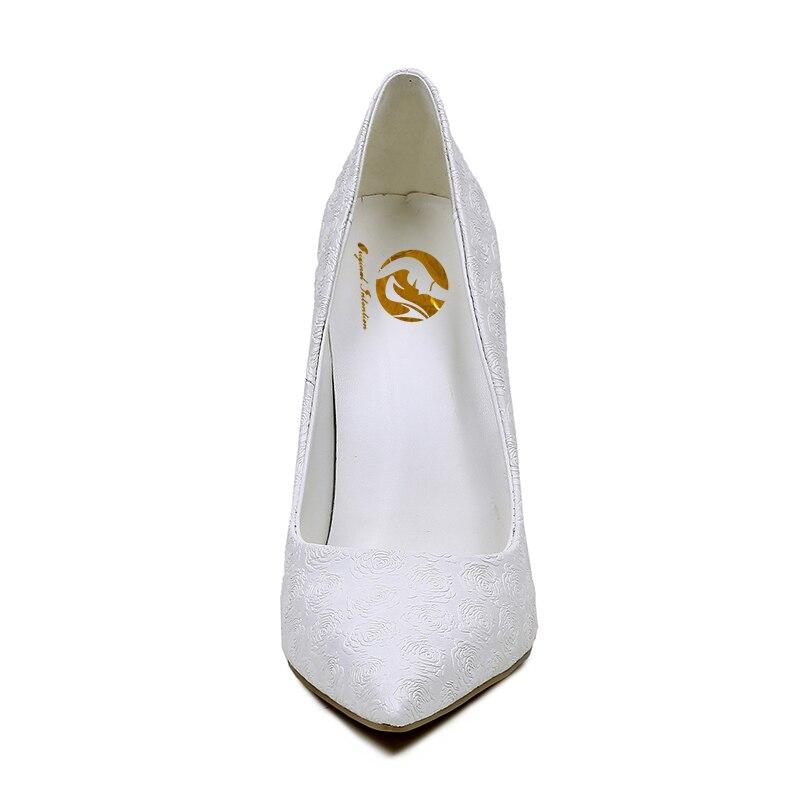 Punta Zapatos Dedo A02 Intención Pie Fino Más 5 Sexy 10 Del 4 New Tamaño Blanco Elegante Grace Mujer Boda Mujeres Original Bombas Tacones 0Zq0Yw