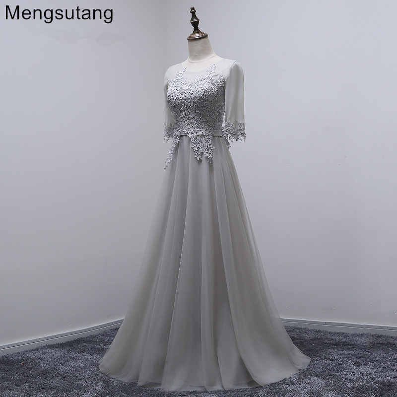 Robe de soiree 2019 grey long O-Neck Lace up with appliques   evening     dress   bouquet party   dress   vestido de festa prom   dresses