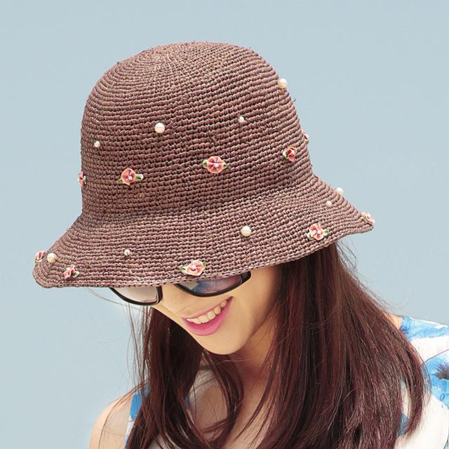 2016 Nueva Señora Sombrero de Sun Del Verano Sombrero de Paja de Las Mujeres Plegado de Ala Ancha Dom Casquillo Elegante Viajar Sombrero Nuevo Headwear B-1990
