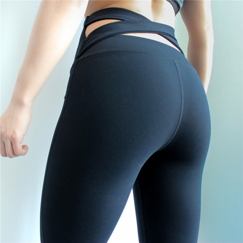 Difen High Quality Black Strap Wide Waisted Yoga Pants for Women Fitness Running Tights Sport Push Up Cross Back Yoga Leggings Колготки