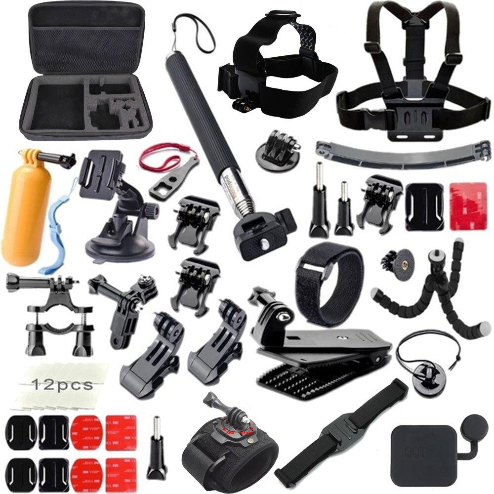 QQT pour Gopro accessoires set pour go pro hero 7 6 5 4 3 kit de montage 360 support de roue xiao mi yi/Eken h9r accessoires de caméra