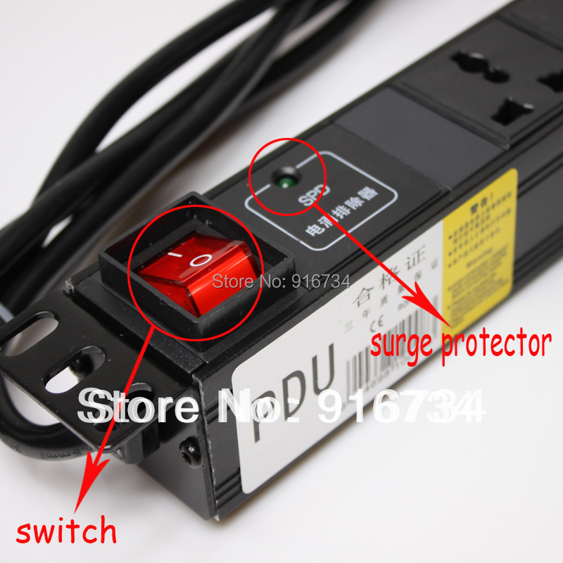 8 Outlet Switched 1u 10a 100 250v Rack Mount Pdu Power Strip Surge Protector For Cabinet On Aliexpress Com Alibaba Group