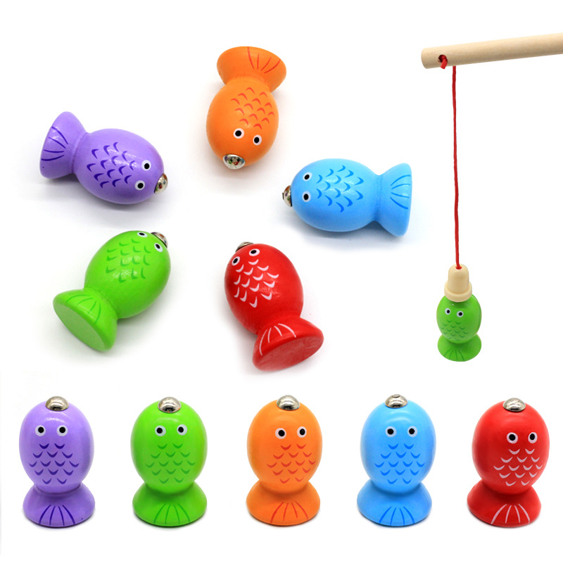 2 In 1 Magnetic Fishing Game/Geometric Building Blocks Kids Wooden Toys Baby Fishing Game Five Sets Of Pillars, Toys For Childre